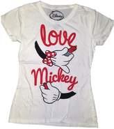Disney Mickey & Minnie Mouse Love Hand Crew Neck Youth Girls Tee Shirt