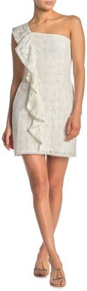 Cupcakes And Cashmere Aresa Ruffle One Shoulder Mini Dress