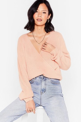Nasty Gal Womens V Right Through You Knit Wrap jumper - Pink - S