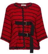Sonia Rykiel Buckled Striped Cotton-Blend Bouclé-Tweed Jacket