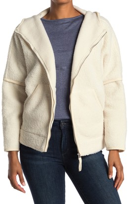 Max Studio Fleece Zip Front Hooded Jacket