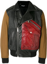 DSQUARED2 bomber biker jacket - men - Cotton/Calf Leather/Polyamide/Virgin Wool - 46