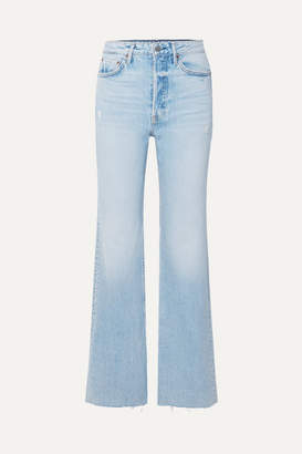 GRLFRND Carla Distressed High-rise Flared Jeans - Light denim