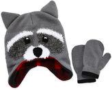 Asstd National Brand Racoon Hat & Mitten Set- Toddler Boys