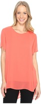 Vince Camuto Short Sleeve Crew Neck Chiffon Overlay Blouse Women's Blouse