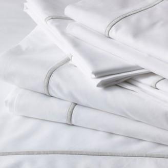 The White Company Savoy Flat Sheet, White Silver, Single
