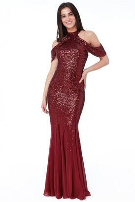 Goddiva Cut Out Sequin and Chiffon Maxi Dress