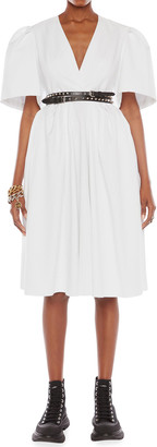 Alexander McQueen Cocoon-Sleeve V-Neck Midi Dress