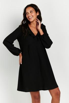 Wallis Black Frill Neck Dress