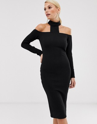 AX Paris choker neck long sleeve bodycon dress-Black