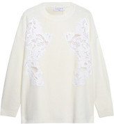 Sandro Appliquéd Cable-Knit Wool-Blend Sweater