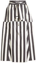Nina Ricci Striped Silk Midi Skirt