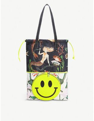 Loewe x Smiley printed convertible nylon and leather medium tote bag