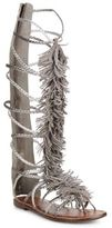 Sam Edelman Gia Fringed Metallic Leather Tall Gladiator Sandals