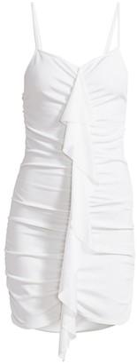 Alexandre Vauthier Spaghetti Strap Ruffle Front Mini Dress