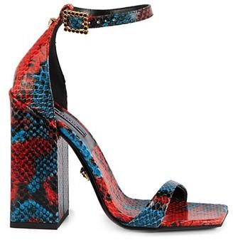 Versace Embossed-Snakeskin Leather Block Heel Sandals