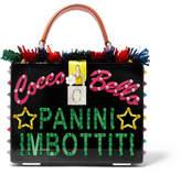 Dolce & Gabbana Textured Leather-trimmed Embellished Perspex Shoulder Bag - Black