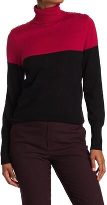 Joseph A Colorblock Turtleneck Button Shoulder Sweater
