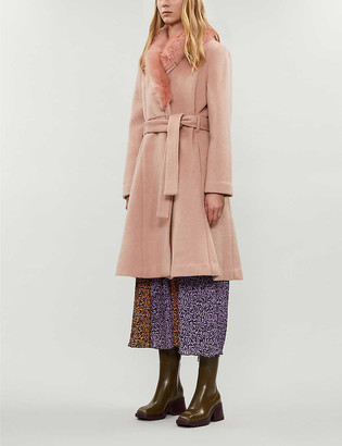 Reformation Somerset faux-fur trimmed wool coat
