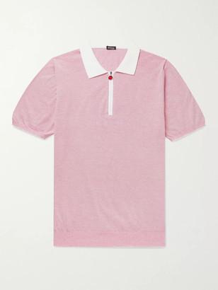 Kiton Striped Cotton Half-Zip Polo Shirt