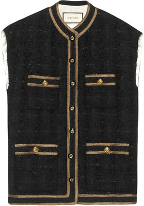 Gucci Tweed sleeveless vest with decorative trim