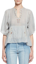 Etoile Isabel Marant Joy Short-Sleeve Striped Semisheer Top, Blue