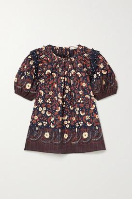Ulla Johnson Arbor Ruffled Floral-print Cotton-voile Top