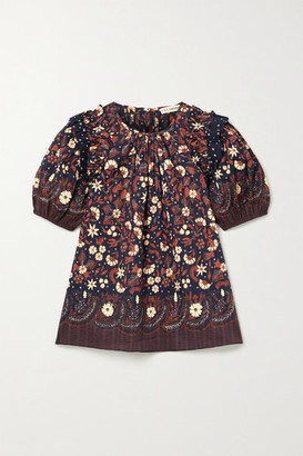 Ulla Johnson Arbor Ruffled Floral-print Cotton-voile Top - Midnight blue