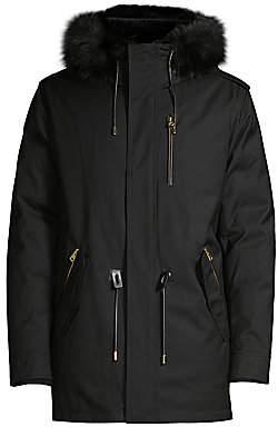 Mackage Men's Seth Blue Fox & Rabbit Fur-Trim Down Parka Coat