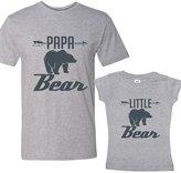 NanyCrafts PAPA Bear & LITTLE Bear Charcoal Matching Set Adult's XL shirt - Girl Shirt Youth M
