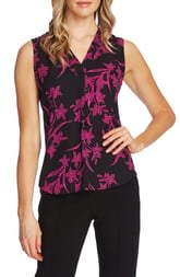 Vince Camuto Iris Silhouette Sleeveless Georgette Blouse