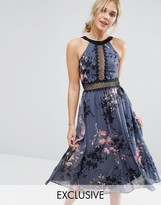 Little Mistress High Neck Midi Dress With Lace Insert