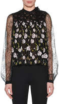 Giambattista Valli High-Neck Long-Sleeve Floral-Print Lace Swing Blouse