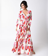 Moon Collection 1970s Style Ivory & Red Floral Print Long Sleeve Maxi Dress