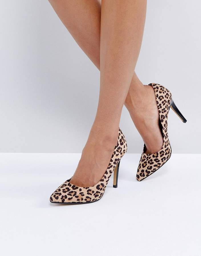 Head Over Heels by Dune Allice Leopard Print Pointed Pumps
