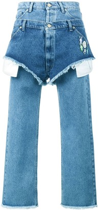 Natasha Zinko boyfriend fitted jeans with layered shorts