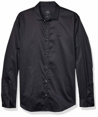 A|X Armani Exchange Men's Cotton Satin Long Sleeve Button Down Collared Dress Shirt