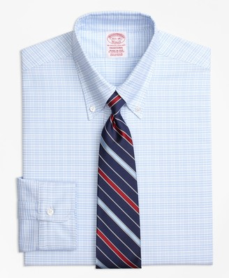 Brooks Brothers Original Polo Button-Down Oxford Traditional Relaxed-Fit Dress Shirt, Plaid