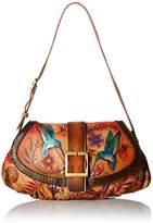 Anuschka Hand Painted Small Ruched Flap Handbag Shoulder Bag