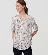 LOFT Sketched Floral Yoke Swing Top