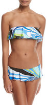 Emilio Pucci Libellula Ruffled Two-Piece Bikini Set, Blue Pattern
