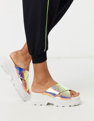 Public Desire Elma chunky sporty mule sandals in irridescent