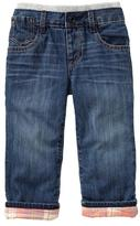 Gap Flannel-lined knit-waist straight jeans
