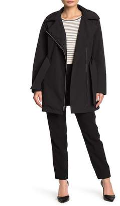 Via Spiga Hooded Long Sleeve Belted Jacket (Petite)