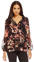 Preston & York Rory Georgette Long Sleeve Floral Peasant Blouse