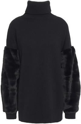 MICHAEL Michael Kors Faux Fur-paneled Knitted Turtleneck Sweater