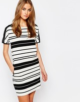 Warehouse Textured Rib Stripe Dress