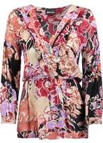 Just Cavalli Pleated Wrap-Effect Floral-Print Voile Top