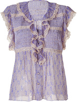 Anna Sui Amethyst Printed Silk Top