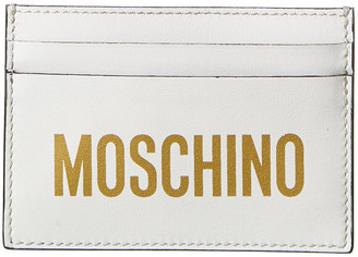 Moschino Logo Print Leather Card Holder